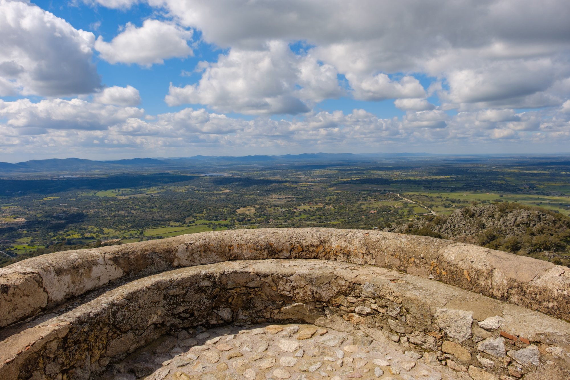 beautiful viewpoint with a panoramic view called the balcony of the extremadura in montanchez, province of caceres, spain